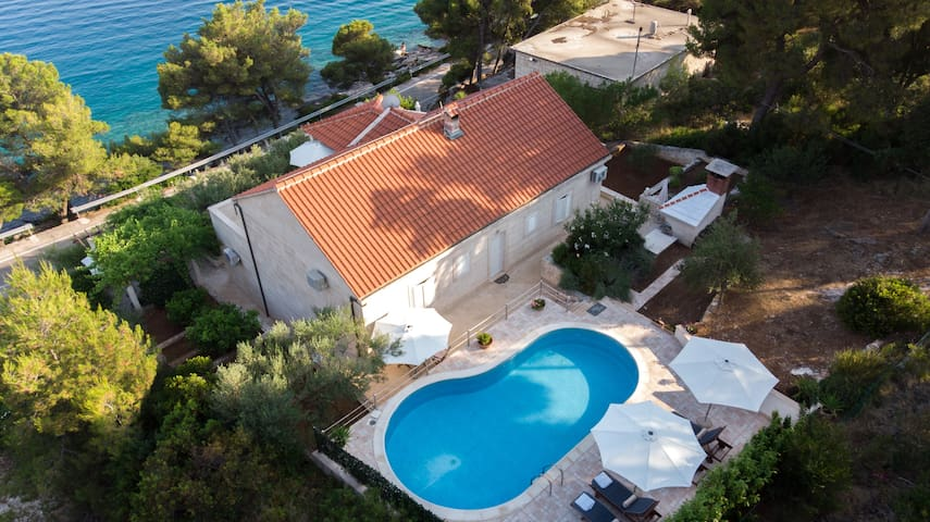 Villa with the pool next to the sea
