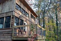Back of tiny house facing the woods in the fall.