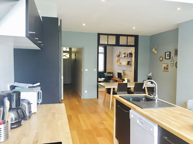 Maison de charme, lumineuse. Grand RDC, 2 chambres - Villeneuve-d'Ascq - Huis