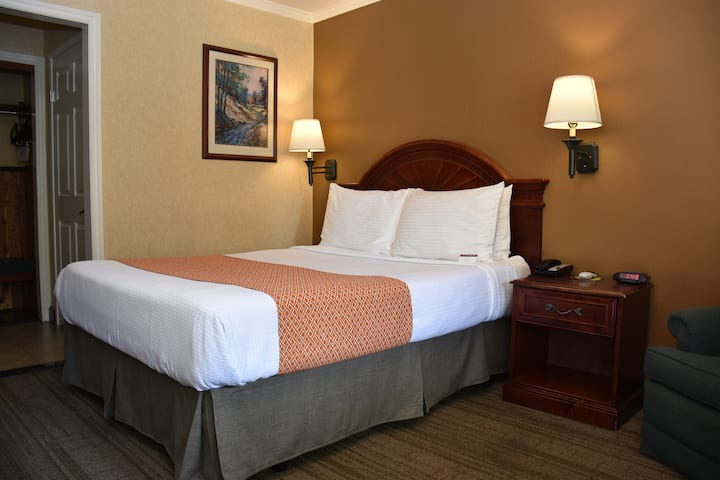 Deluxe Room with a Queen Bed and Hot Breakfast included (to go).All rooms are independent from each other with exterior corridor.