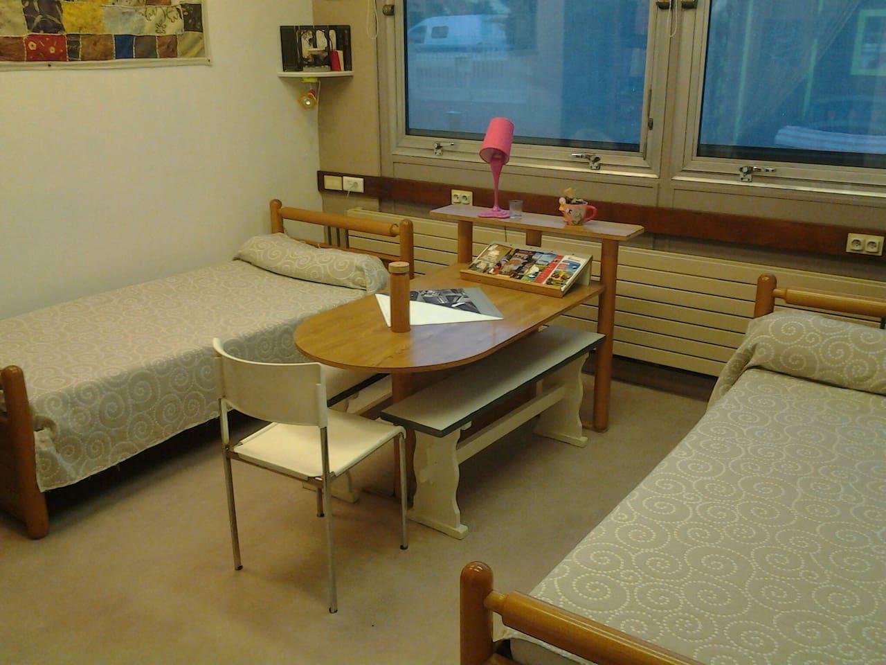Chambre  de 16m carre avec 2 lits de 90, et piece de  6 m  carre  servant. De dressing ou parfois pour faire dormir votre chien