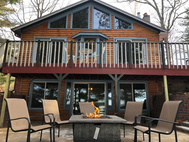 Lakeside of home offers many opportunities to enjoy a toasty lake view