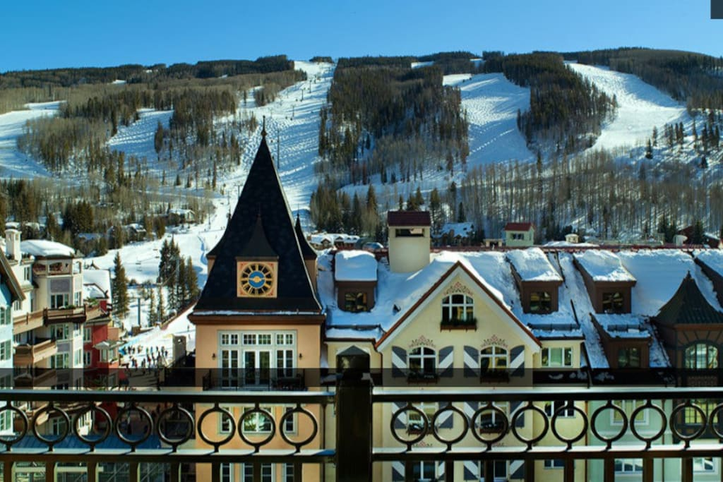 View from the deck toward Vail Mountain, the Gondola, and Eagle's Nest.