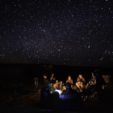 Stars shine bright on clear nights.
