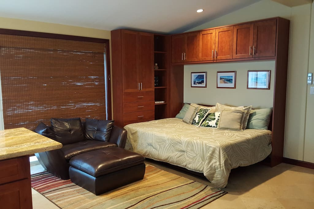 Queen size Murphy bed that sleeps two comfortably.
