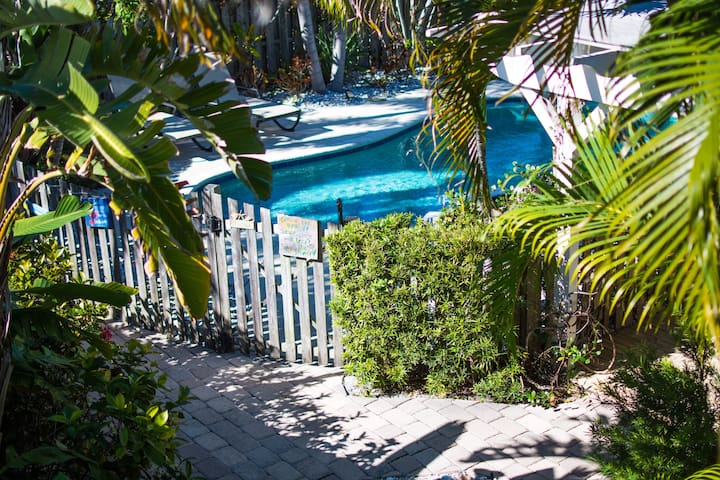 View from private deck overlooking pool area