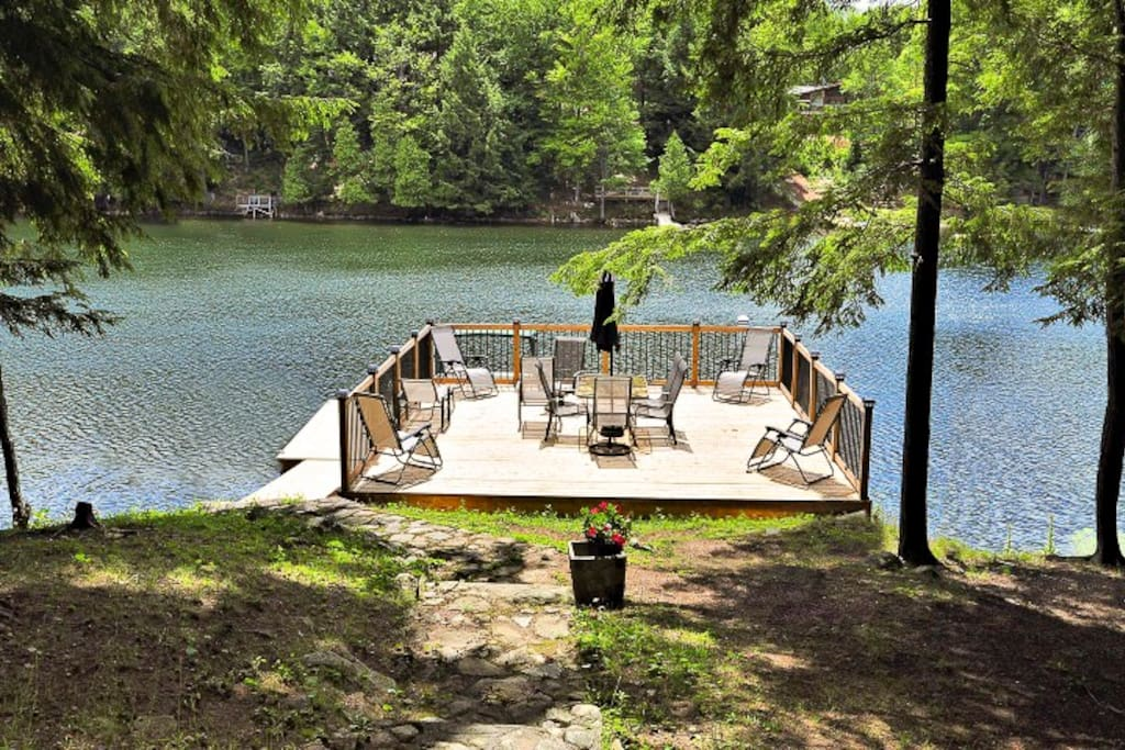 great space for lounging on the water for 2 families