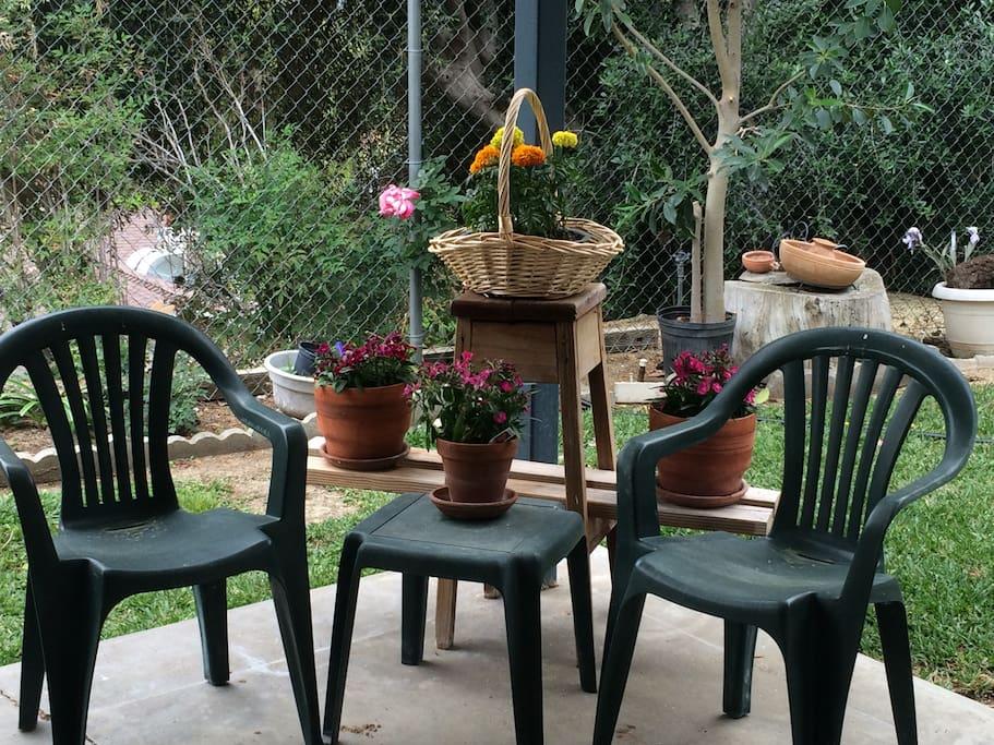 Pleasant areas in the garden to soak up the California sun