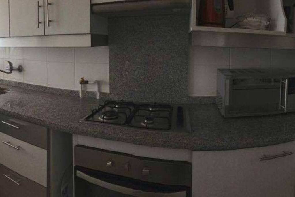 Cocina totalmente equipada (refrigerador, campana, horno, microondas, hervidor etc) además de lavadora/secadora