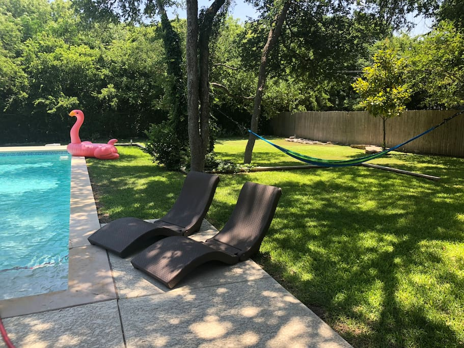 The pink flamingo is ready to welcome you poolside.  Lots of pool toys provided.  The chaise lounges double as floats!