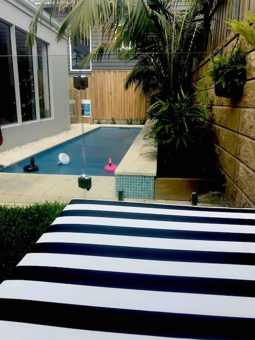 Heated , saltwater pool
