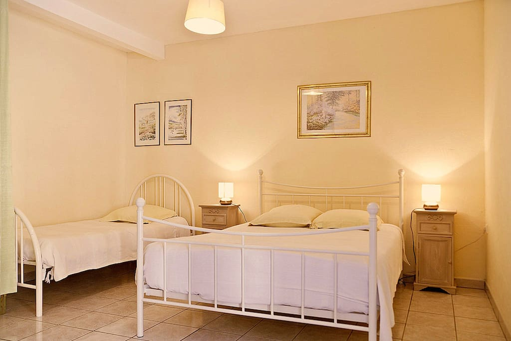 Another Triple room, with a double bed and single bed, private bathroom