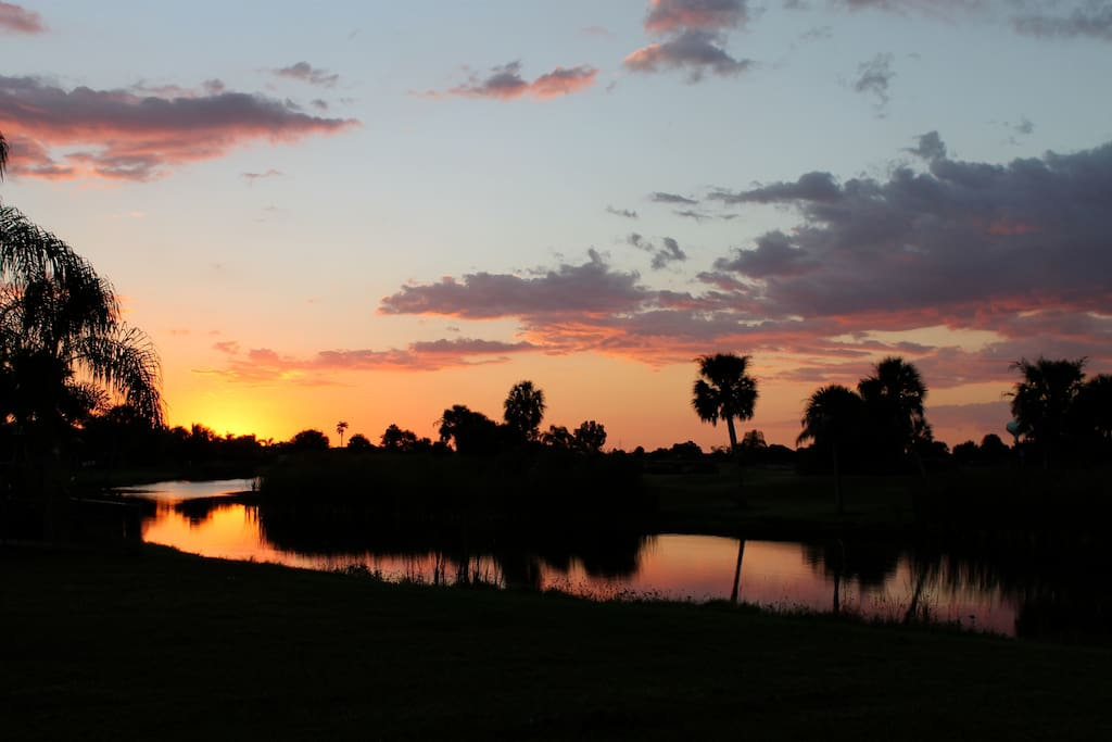 Evening view over looking the lake and golf course