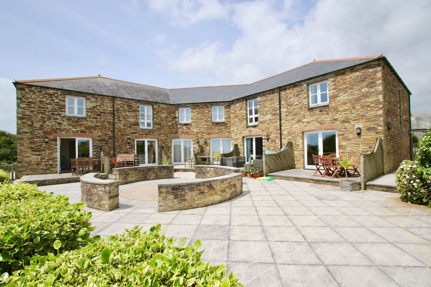 Communal Courtyard and individual patio areas with Sea Views
