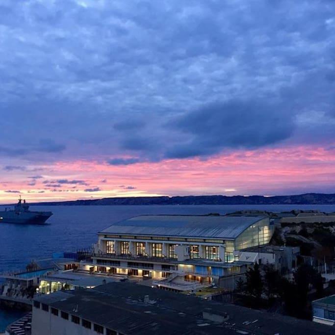 vue du salon juste en face du coucher de soleil. nord ouest