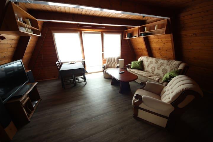 Wohnzimmer mit Schlafcouch + 2 Sessel + Esstisch + Fernseher