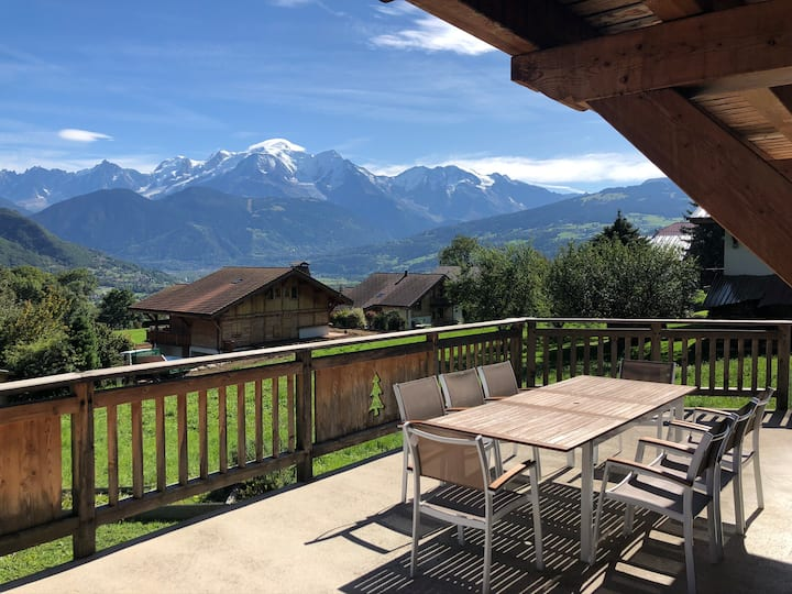 Chalet in the French Alps facing Mont Blanc
