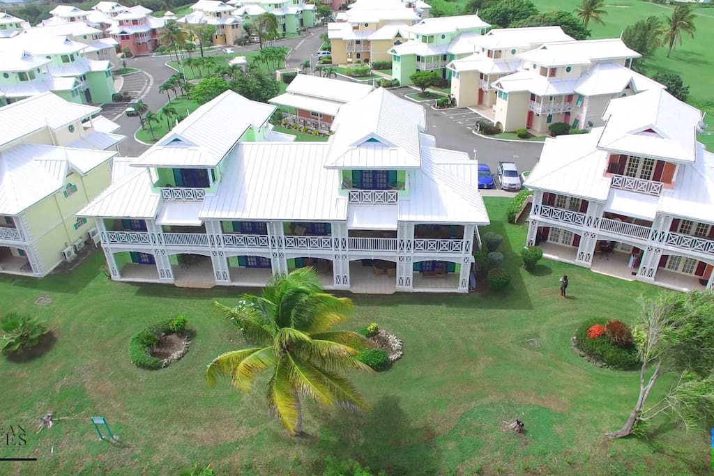 Aerial Shot of Condo and Compound. Condo is located on ground floor