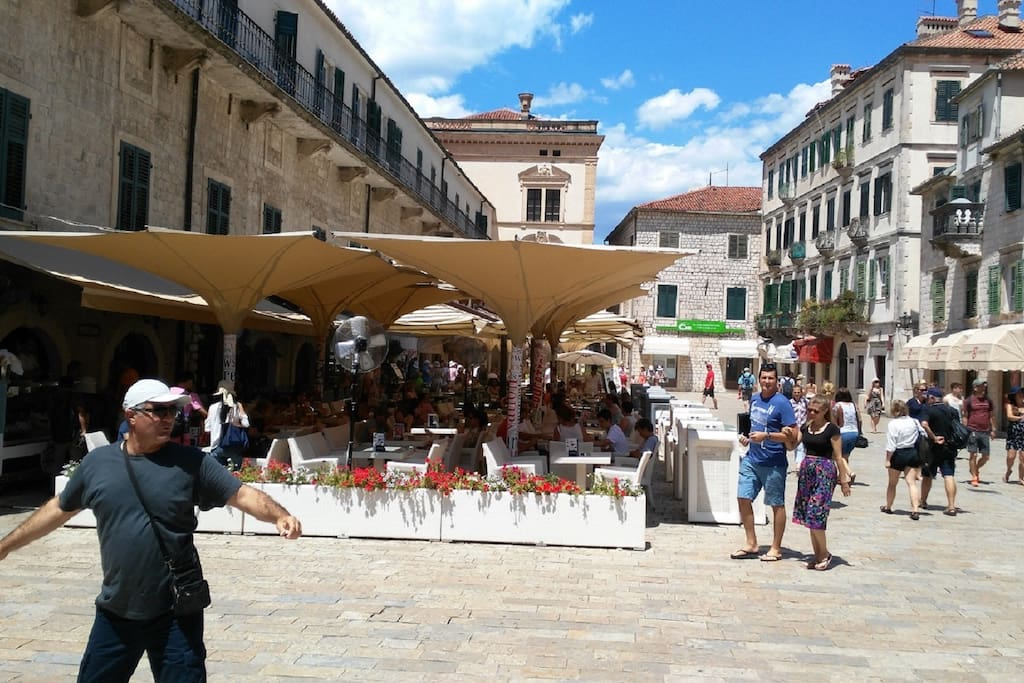 The main square of the old town Kotor,distance from  apartments a 5-minute by walk.