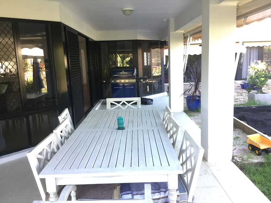 Enjoy a drink on our outdoor lounge (not pictured) before having a barbie in our undercover entertaining area.