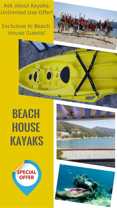 The Beach House recently acquired 2 X Tandem kayaks. Kayak Rental can be pricey, but we offer an awesome daily or timeless rate exclusive to our Beach House guests. KRW 80 000 gives you a full day of kayaking and is not per person. That means all Beach House guests can enjoy kayaking at a fraction of the normal price. People can go at once. Life jackets are provided. Beach House guests can extend this offer to more days for only KRW 40 000 extra per day. That means you can have the kayaks exclusively for your guests for your entire stay.