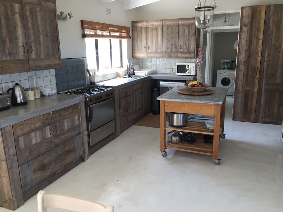 Kitchen with natural sun bleached spruce cupboards