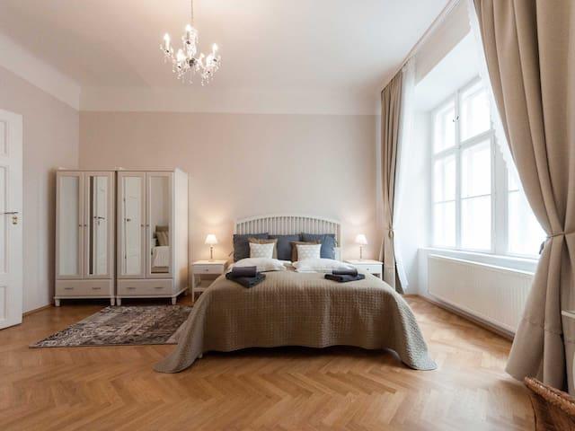 Master bedroom, king size bed, 2 wardrobes