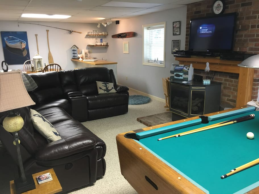 Pool table, fireplace, leather motion sectional... just to mention a few!