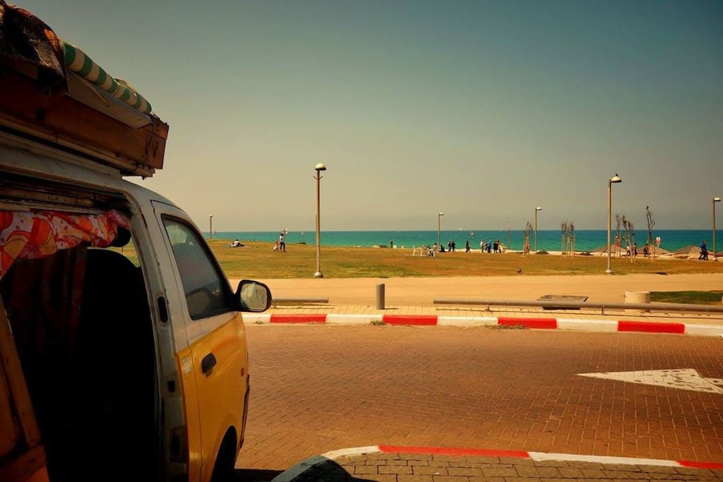 The van is on paid parking within walking distance to the sea. The parking itself is not really beautiful but safe and quiet.