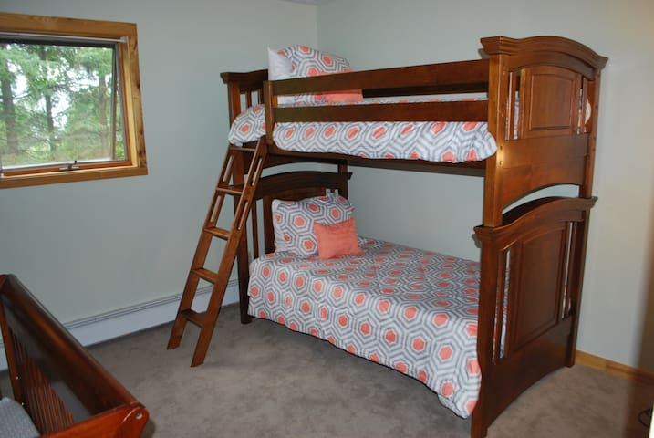 Twin-sized bunk beds.