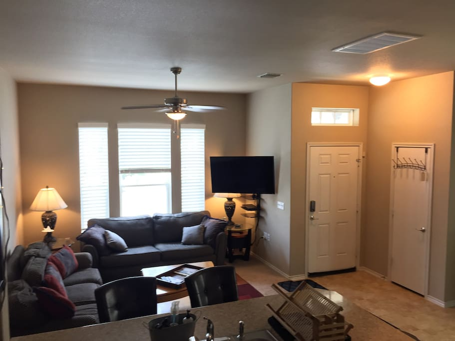 Front Door/Living/Dining/Kitchen - 2 couches and air mattresses are in the closet behind the front door.