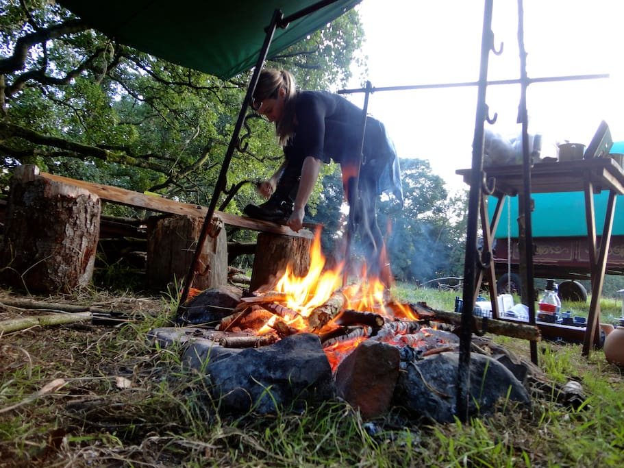 cooking over the fire pit