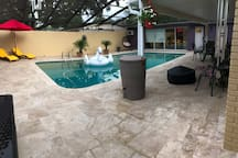Pool with outdoor seating, grill & fire pit