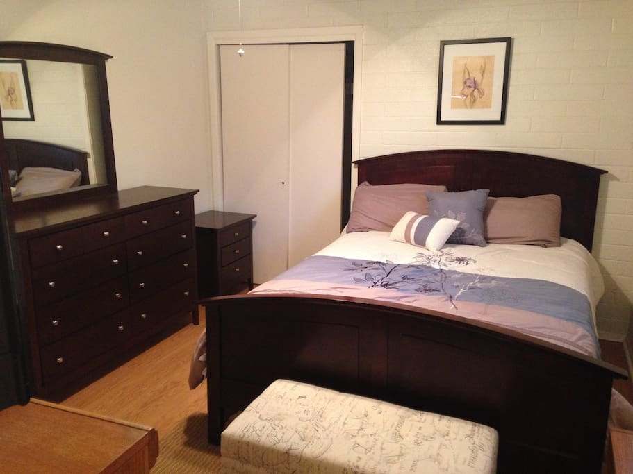 Master Bed 1 has private shower, new large flat screen TV and a small refrigerator.