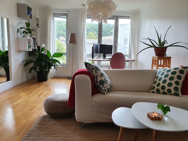 Living room is spacious and bright. And has a home-office if you want to work.