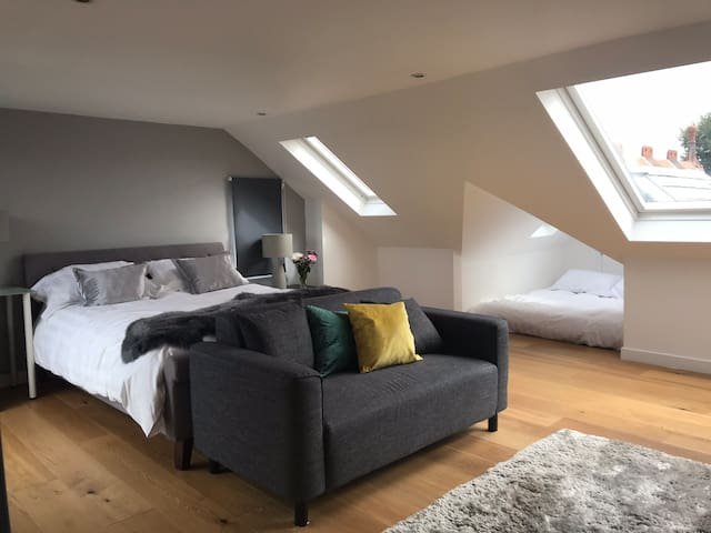 Large attic with on suite bathroom.