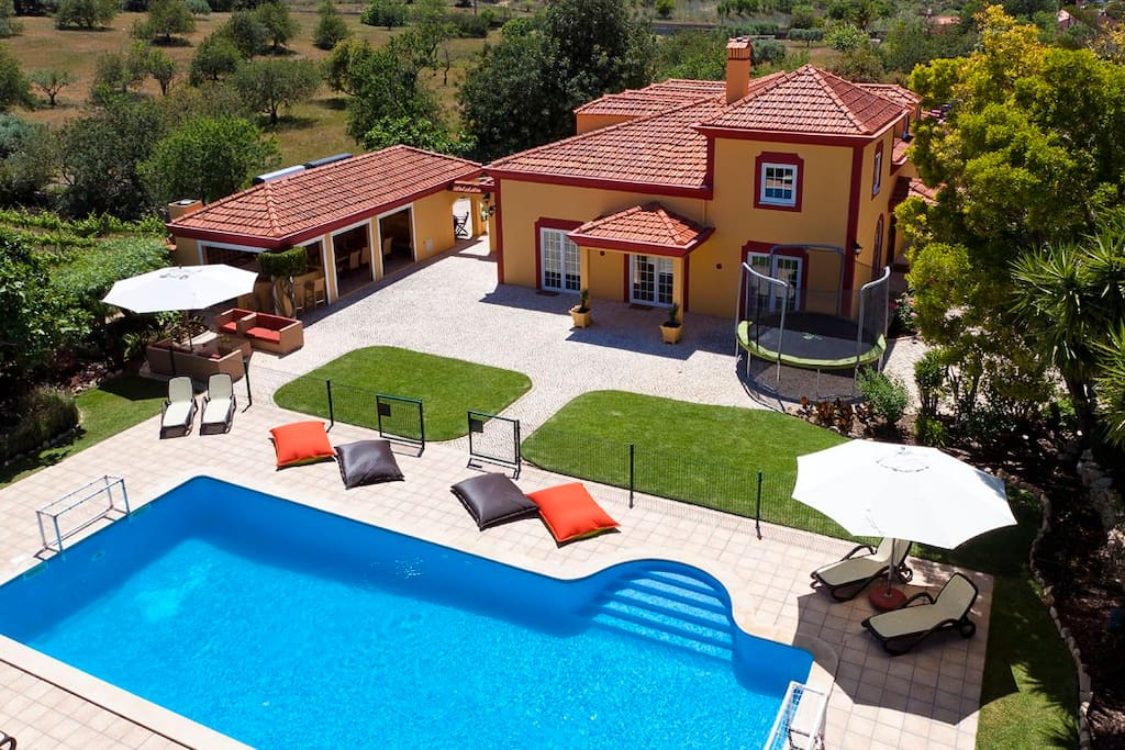Pool, house and barbecue overview