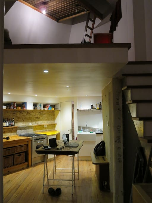 Kitchen/dining, mezzanine above