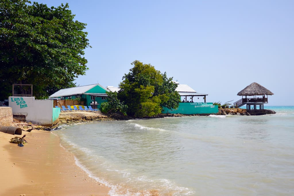 Hotel with small beach and gazebo