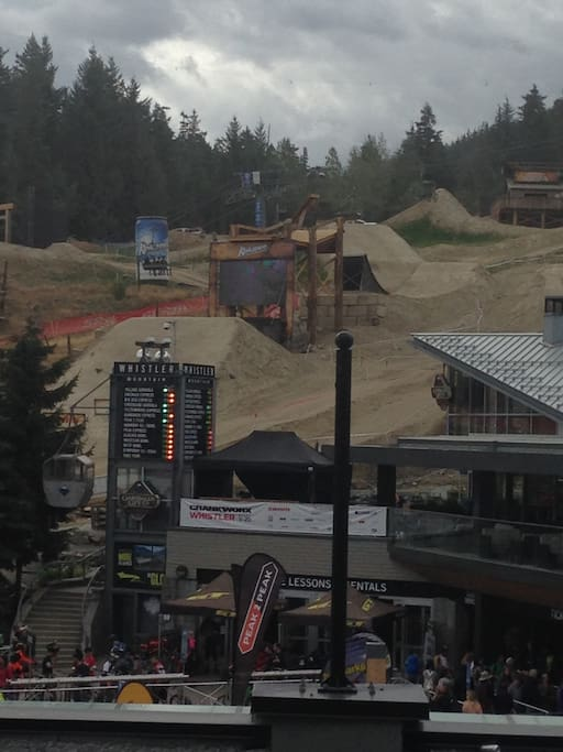 Unobstructed views of the Bike Park and Crankworx from the deck