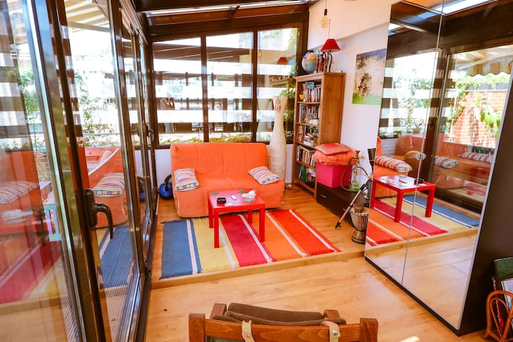 The living room or common space is a glass room where you can chill or sleep on the extensible sofa. You can open both doors and make a large living including the terrace.