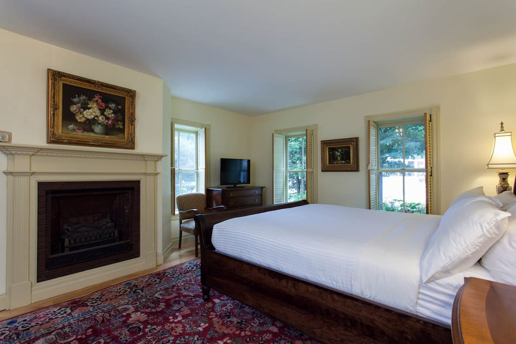 Warm up in front of the fireplace before sinking into your luxurious king bed and enjoying a good night's rest.