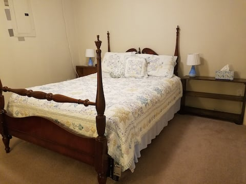 Bedroom with walkout, private entrance.