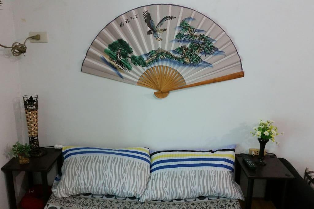 Bed headboard / lampshape / side tables