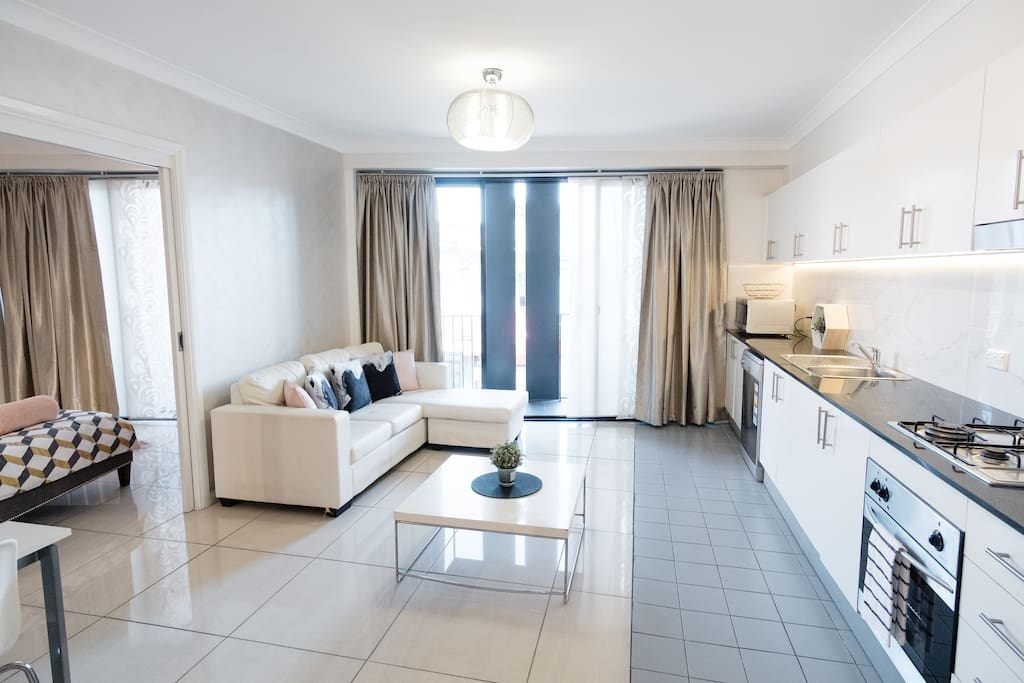 Bright and airy combined living, dining and kitchen with everything you need for your stay