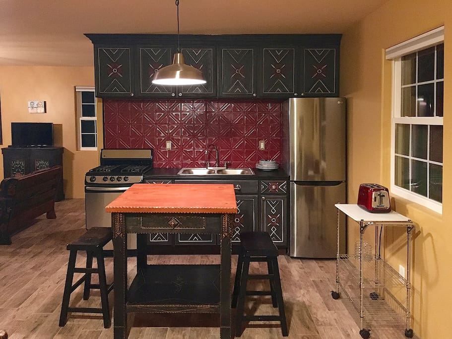 kitchen, hand painted cabinets, all new appliances.