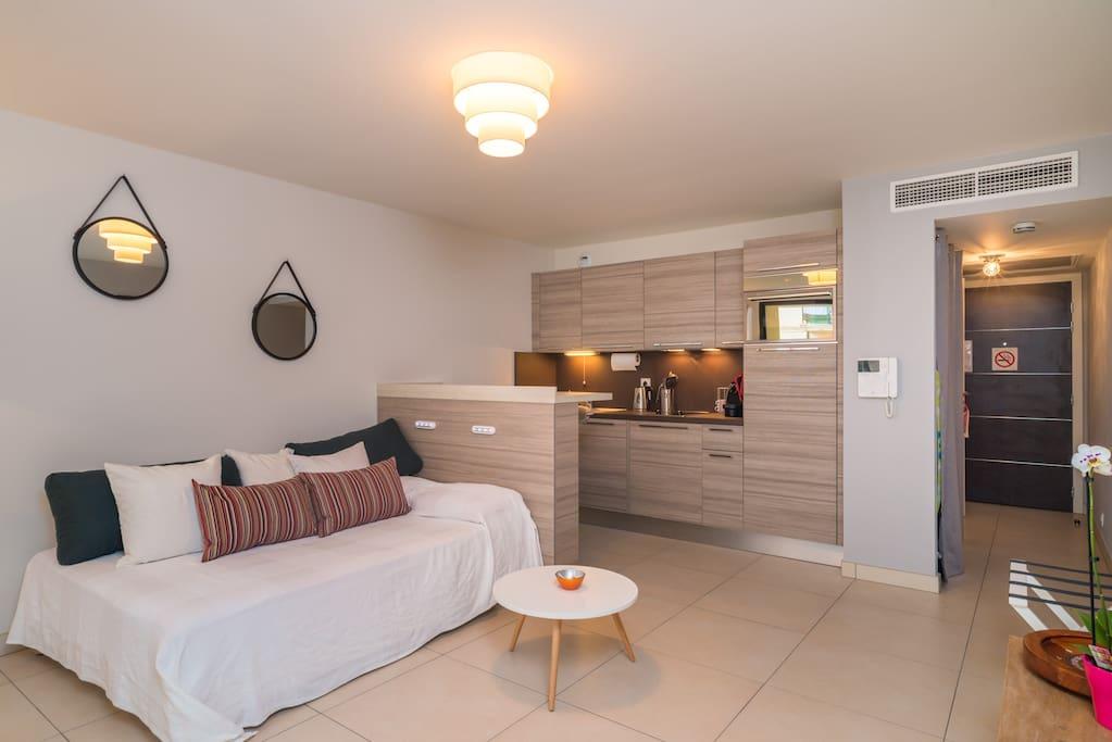 Studio neuf confort wifi clim 50m tre monaco - Petit appartement studio allen killcoyne ...