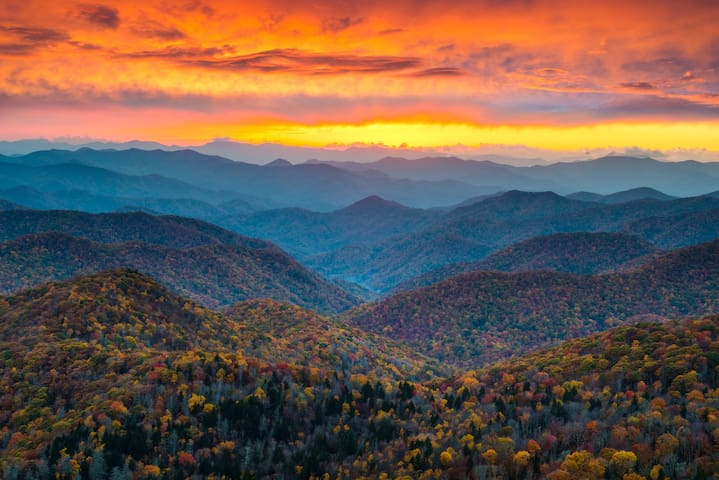 Our home is only a 14 minute drive to the beautiful Blue Ridge Parkway (pictured here), 10 minutes to the Biltmore Estate, 8 minutes to downtown, and 4 minutes (or a ten minute walk) to West Asheville restaurants and shops.