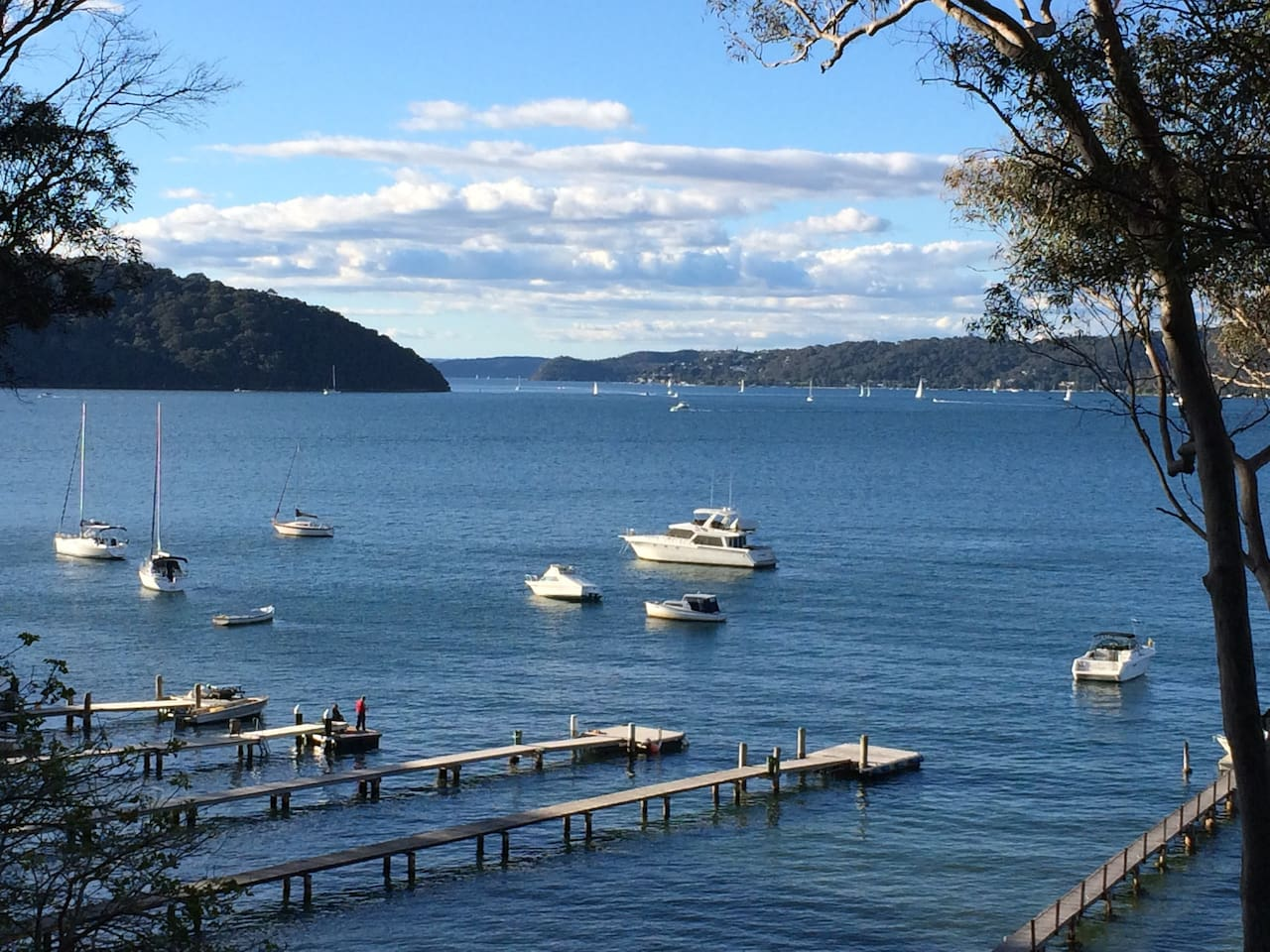 View across Pittwater north east to Palm Beach and Central Coast