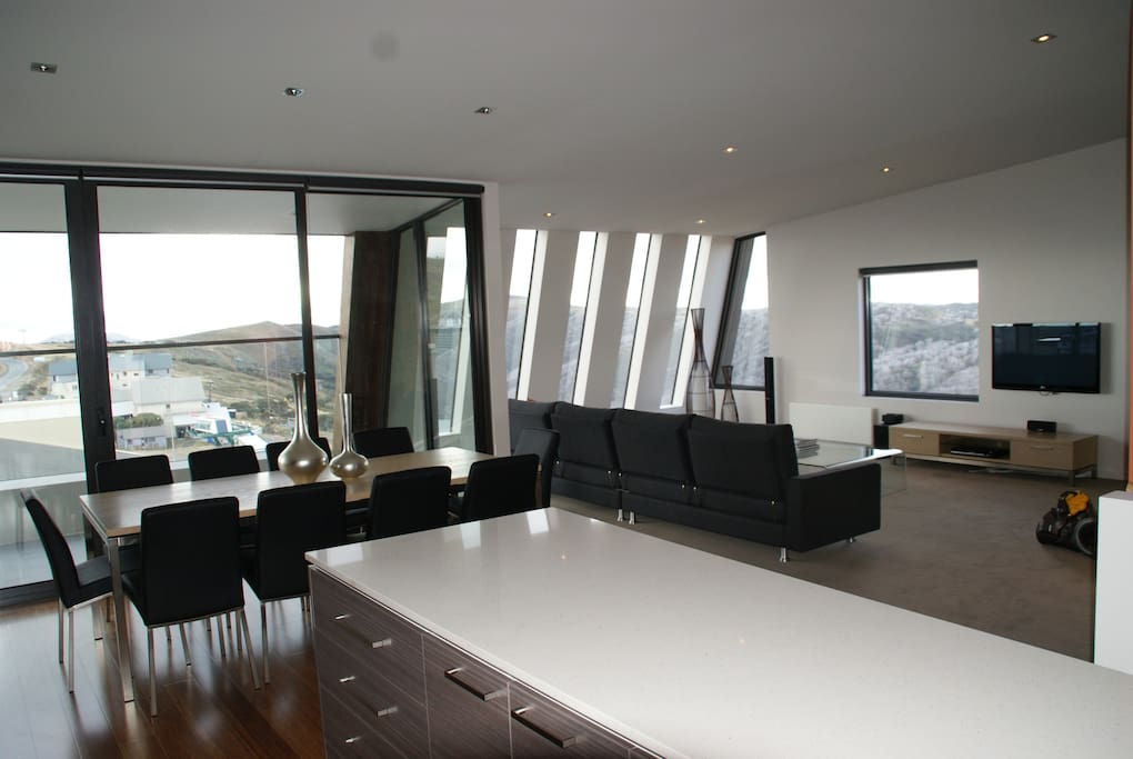 Living room capturing best views in Mount Hotham and One of the dining tables